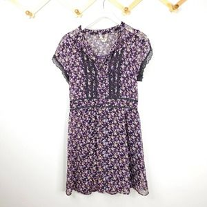 Free people floral lace short sleeve mini dress